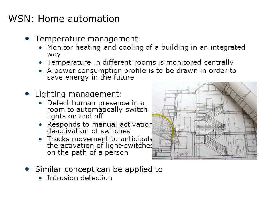 WSN: Home automation Temperature management Lighting management: