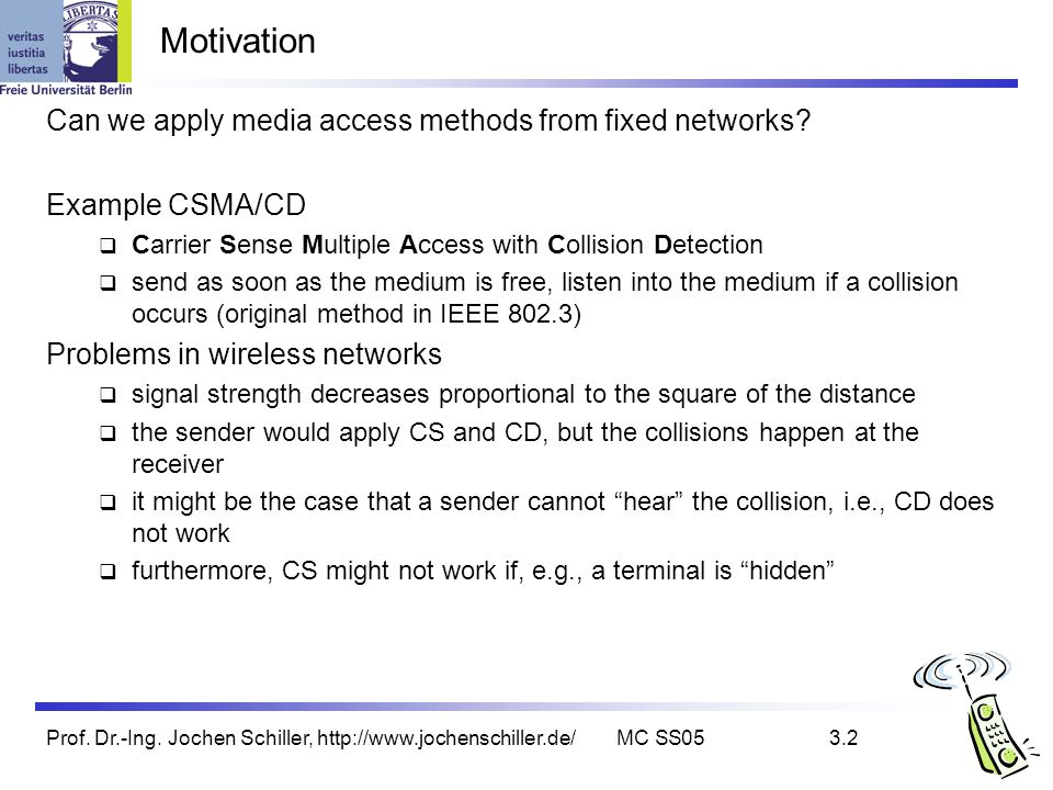 Motivation Can we apply media access methods from fixed networks