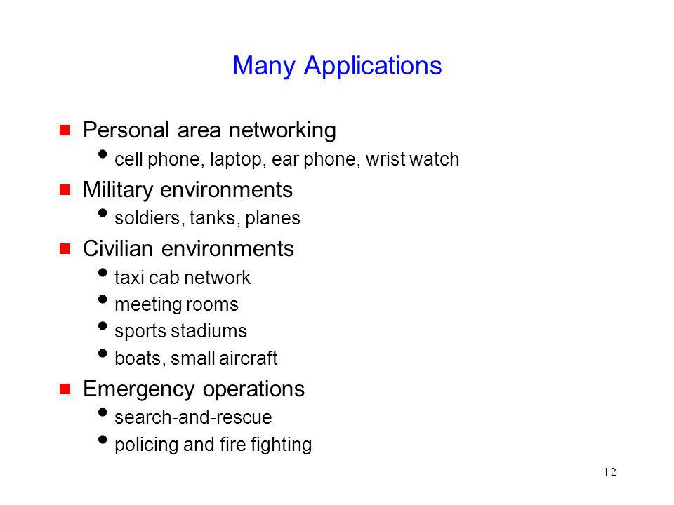 Many Applications Personal area networking Military environments