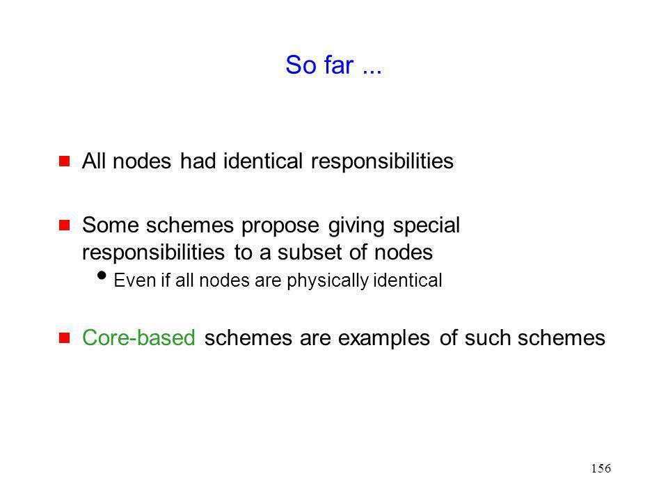 So far ... All nodes had identical responsibilities