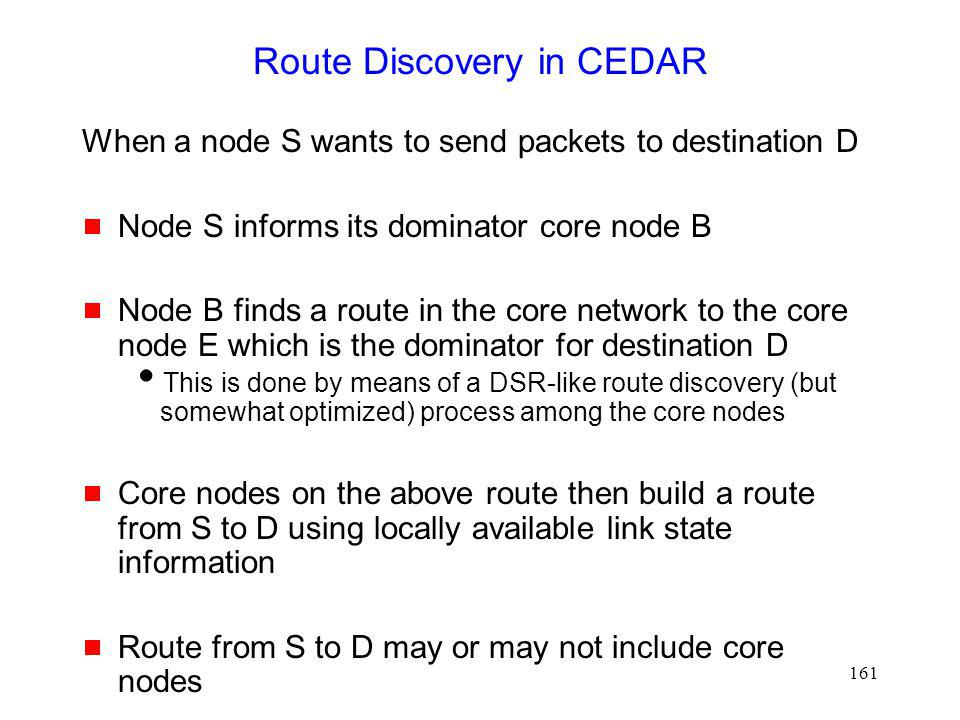 Route Discovery in CEDAR