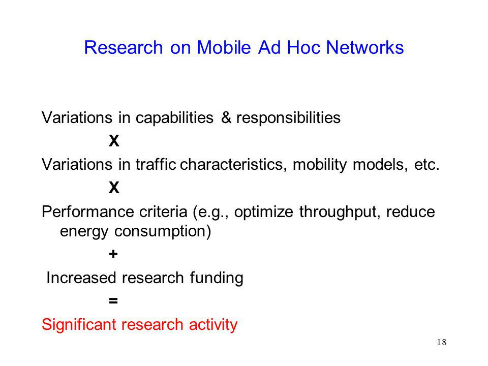 Research on Mobile Ad Hoc Networks