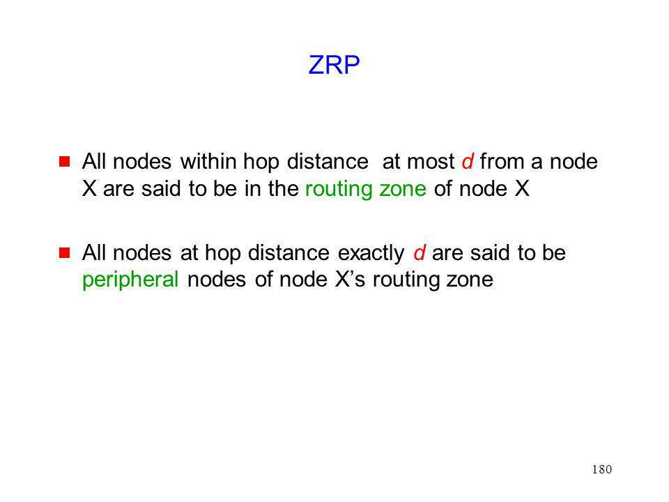 ZRP All nodes within hop distance at most d from a node X are said to be in the routing zone of node X.