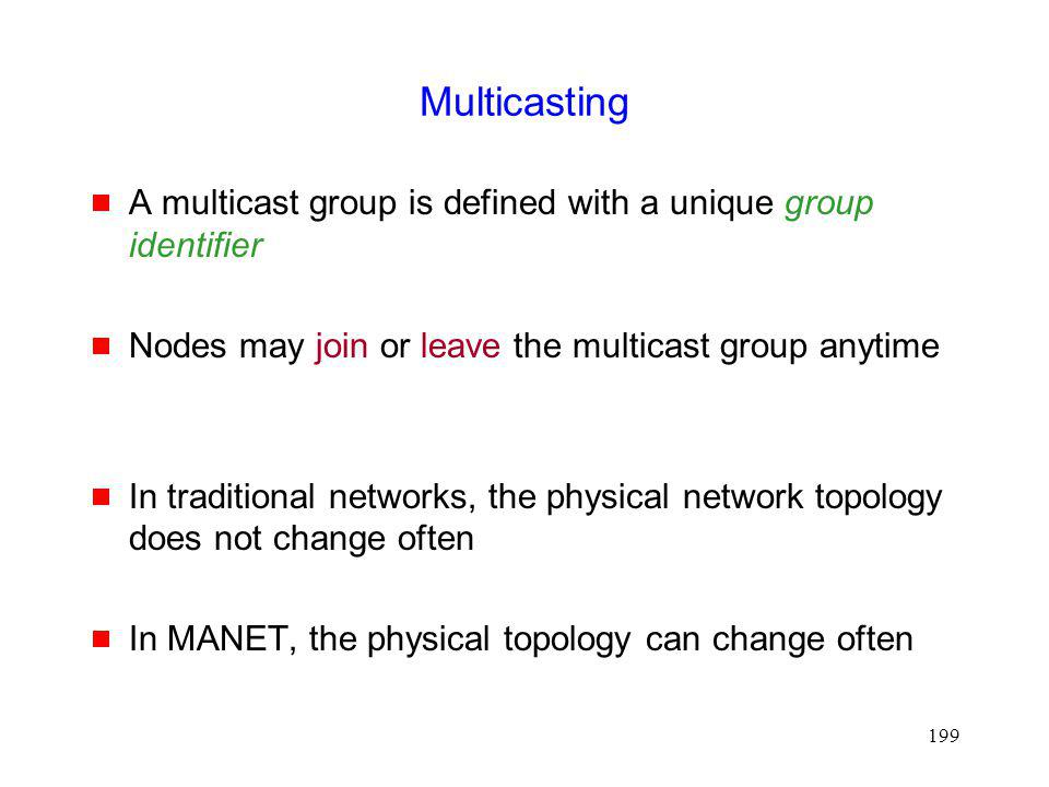 Multicasting A multicast group is defined with a unique group identifier. Nodes may join or leave the multicast group anytime.
