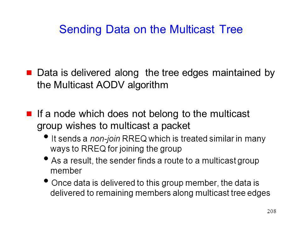 Sending Data on the Multicast Tree