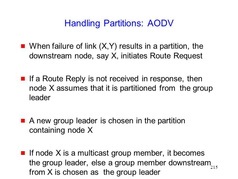 Handling Partitions: AODV