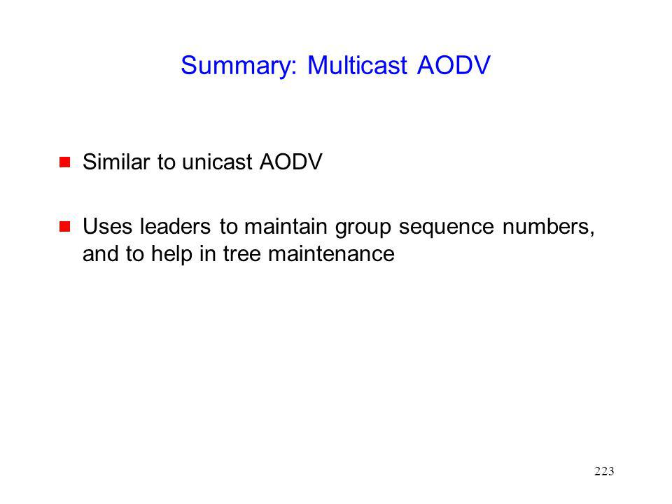 Summary: Multicast AODV