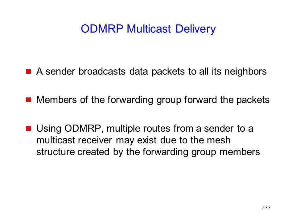 ODMRP Multicast Delivery