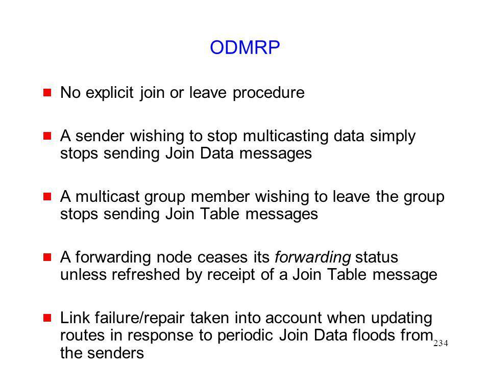 ODMRP No explicit join or leave procedure