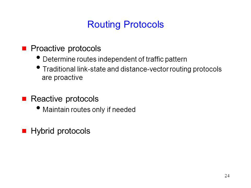 Routing Protocols Proactive protocols Reactive protocols
