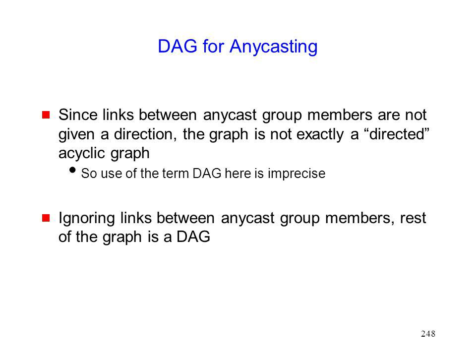 DAG for Anycasting Since links between anycast group members are not given a direction, the graph is not exactly a directed acyclic graph.