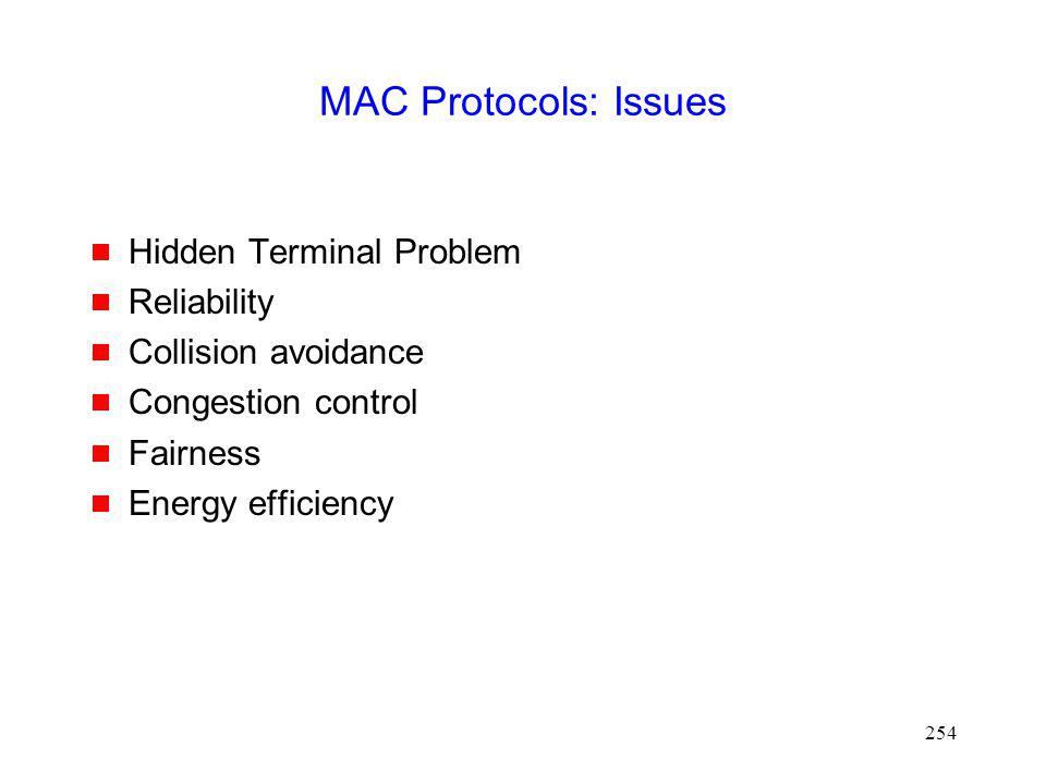 MAC Protocols: Issues Hidden Terminal Problem Reliability