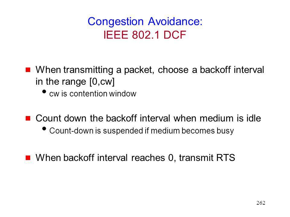 Congestion Avoidance: IEEE 802.1 DCF