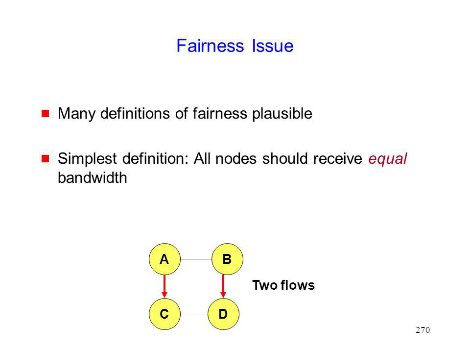 Fairness Issue Many definitions of fairness plausible