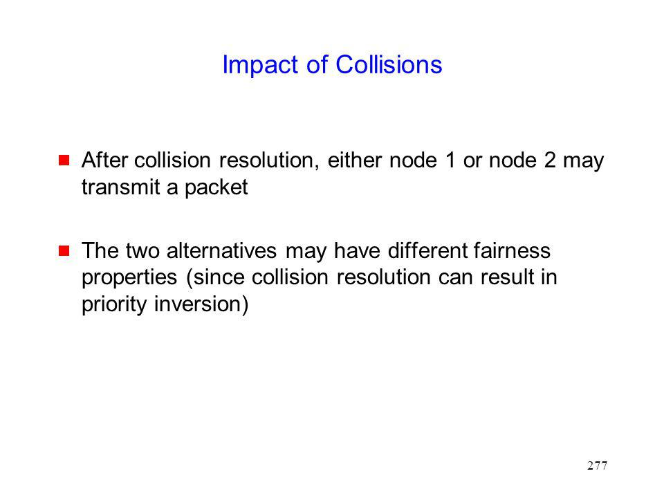 Impact of Collisions After collision resolution, either node 1 or node 2 may transmit a packet.