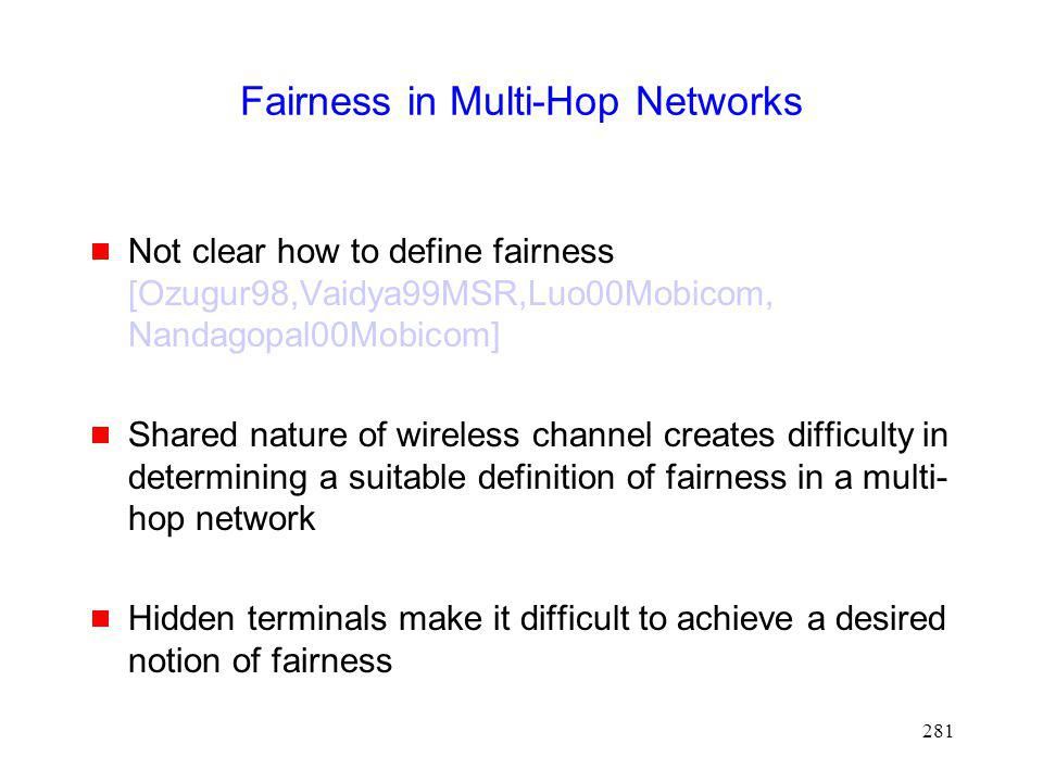 Fairness in Multi-Hop Networks