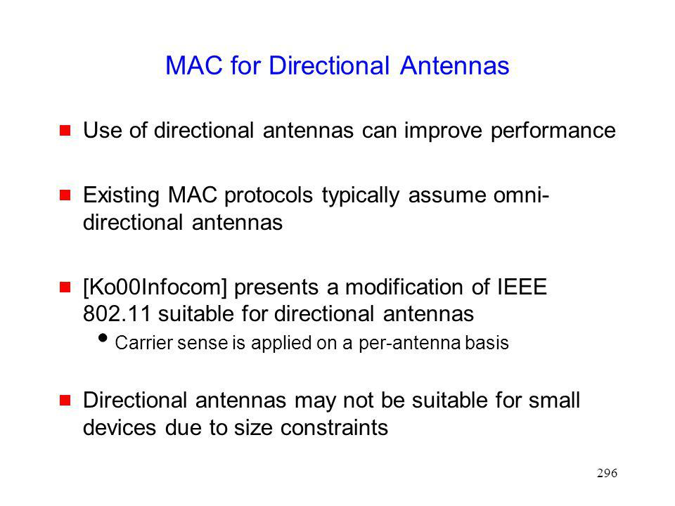 MAC for Directional Antennas