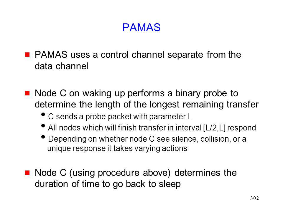 PAMAS PAMAS uses a control channel separate from the data channel