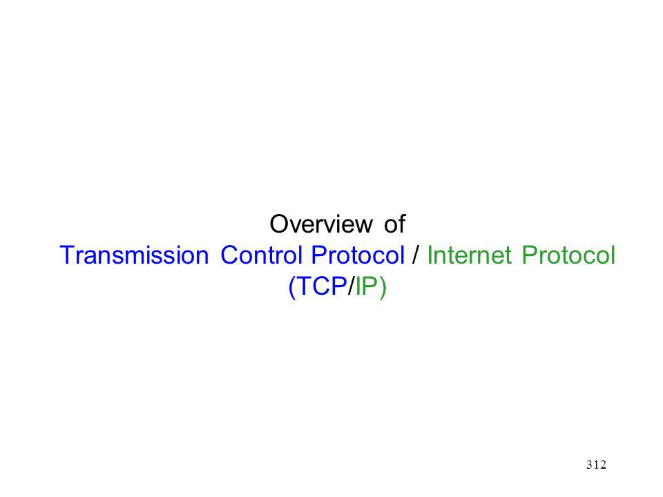 Overview of Transmission Control Protocol / Internet Protocol (TCP/IP)