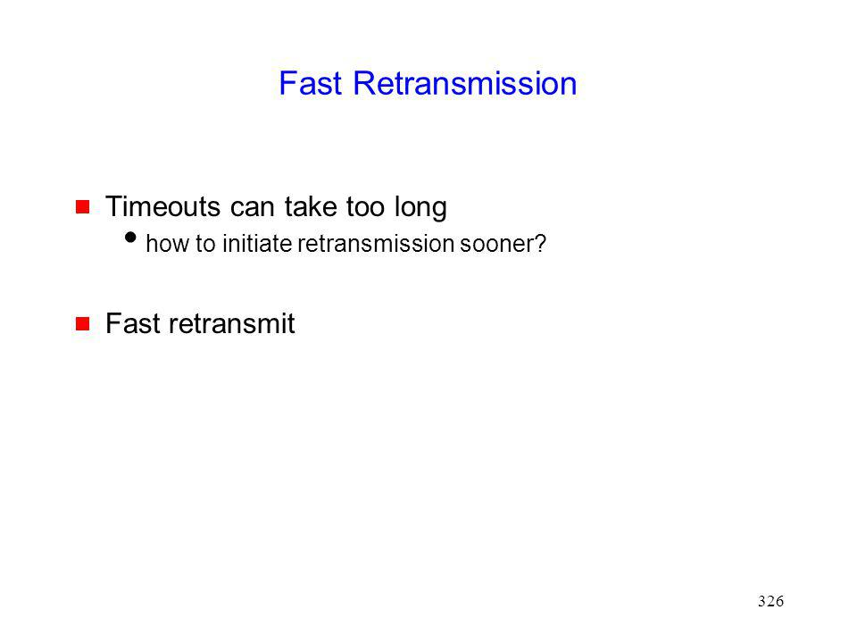 Fast Retransmission Timeouts can take too long Fast retransmit