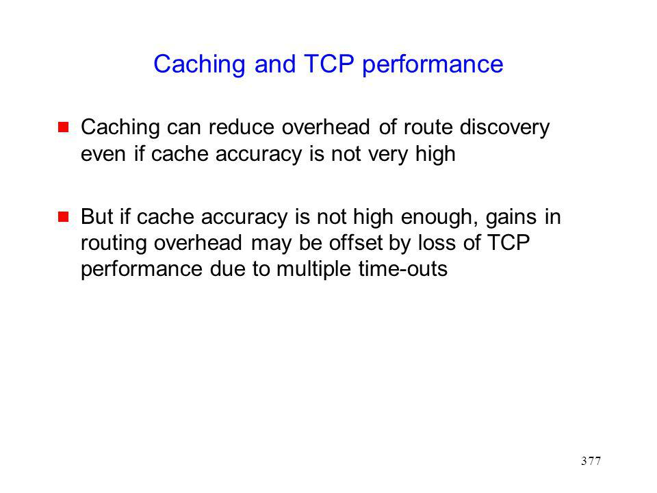 Caching and TCP performance