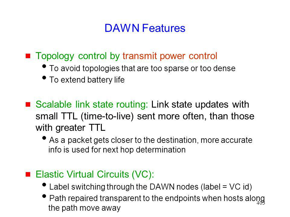 DAWN Features Topology control by transmit power control