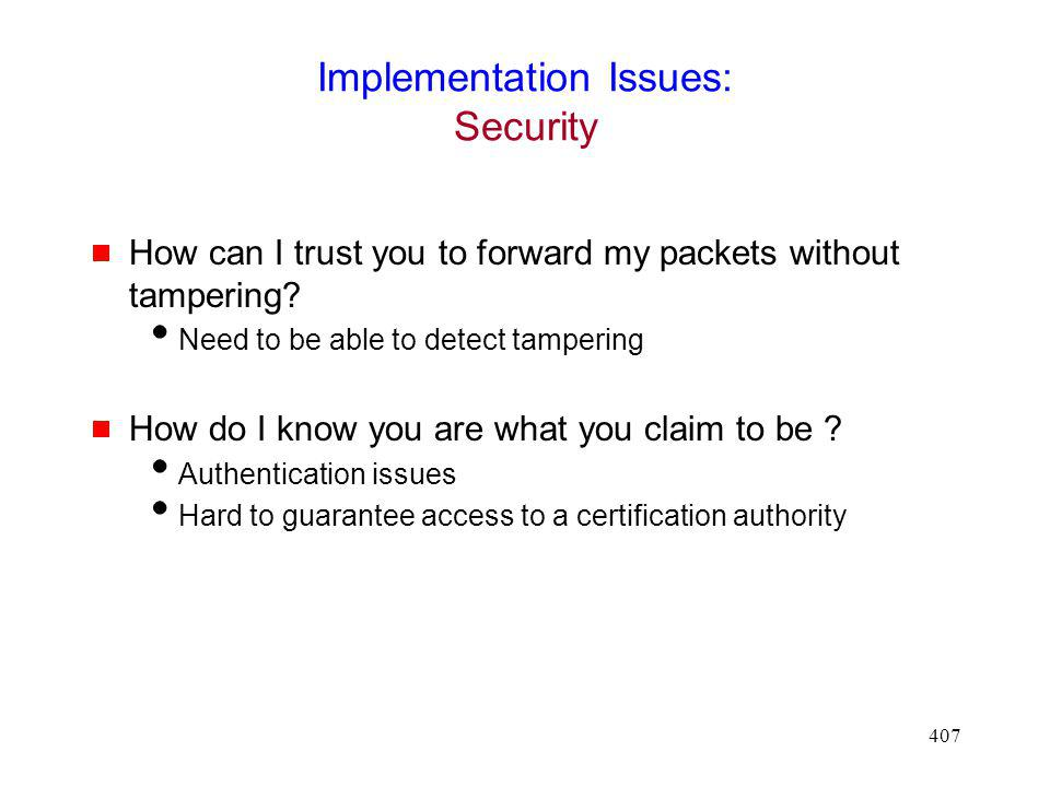 Implementation Issues: Security