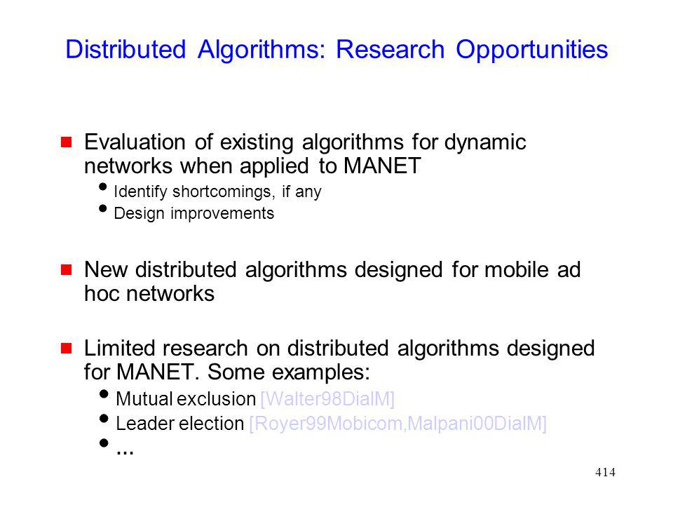 Distributed Algorithms: Research Opportunities