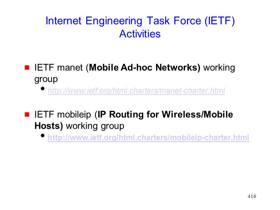 Internet Engineering Task Force (IETF) Activities