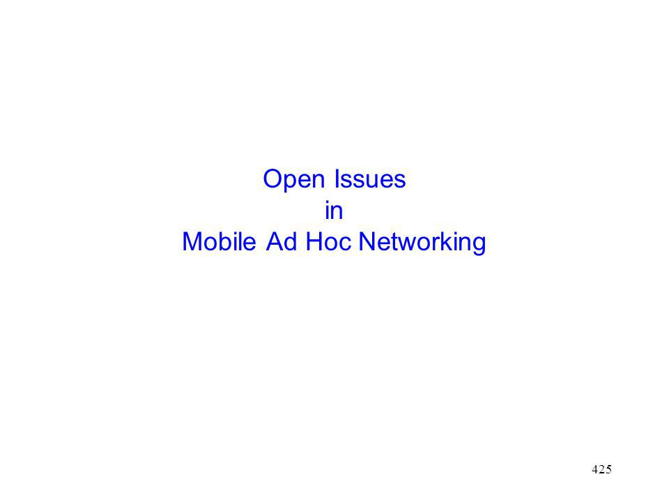 Open Issues in Mobile Ad Hoc Networking