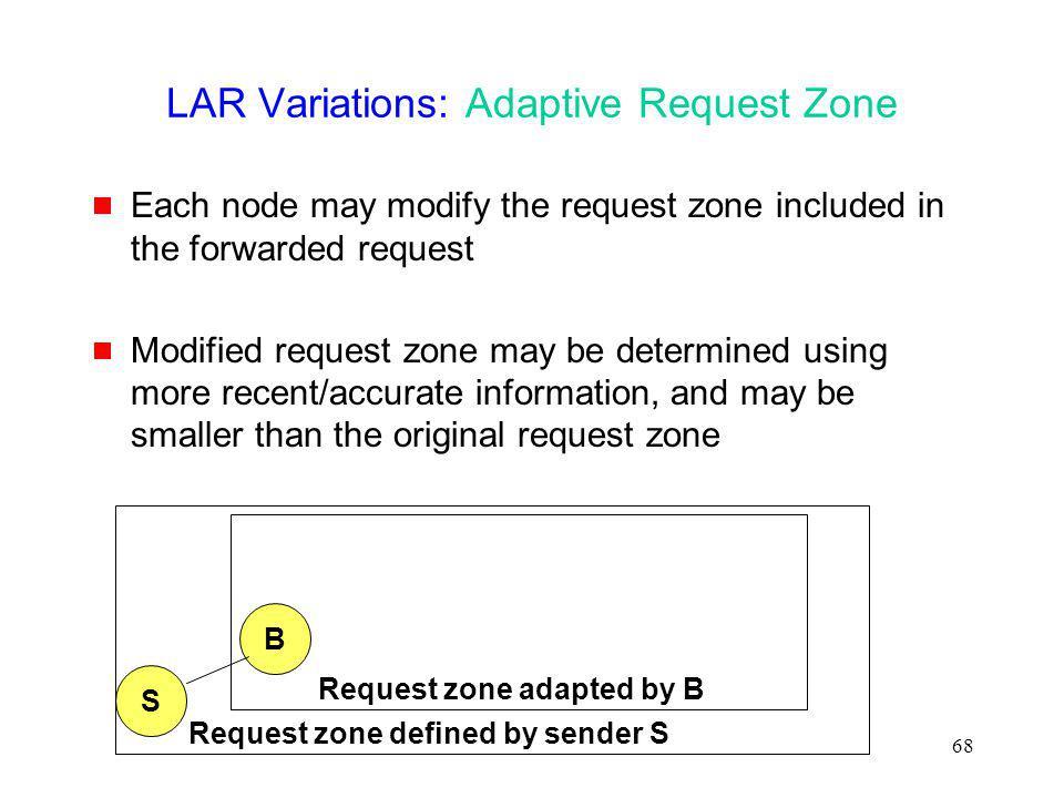 LAR Variations: Adaptive Request Zone