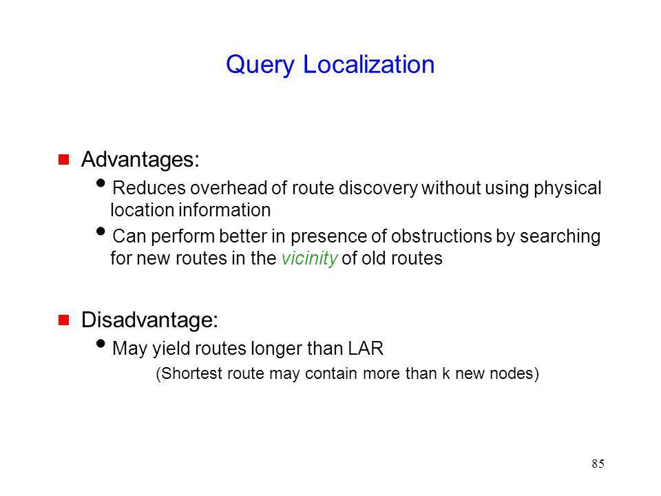 Query Localization Advantages: Disadvantage:
