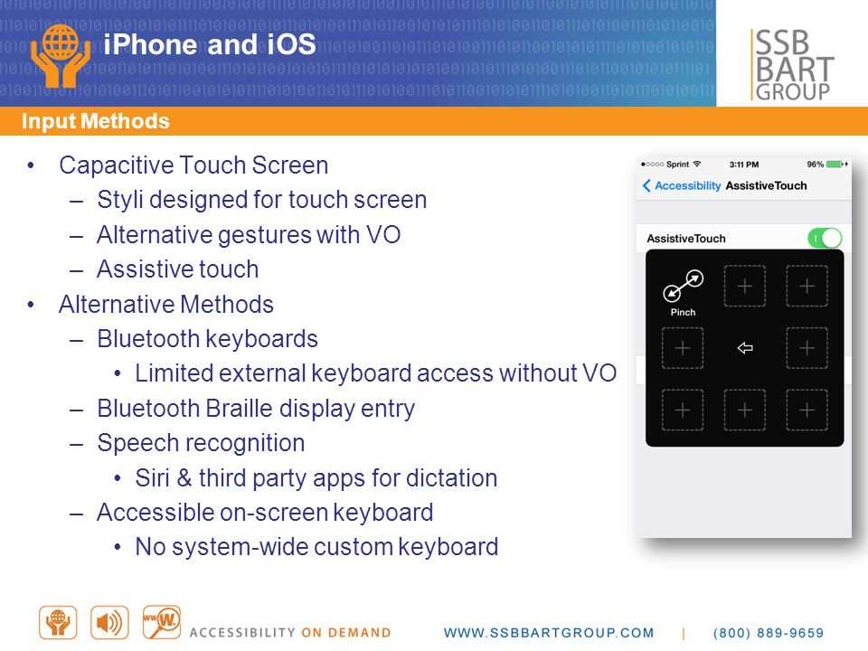 iPhone and iOS Primary input method is capacitive touch screen