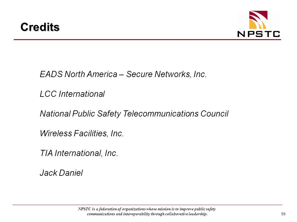Credits EADS North America – Secure Networks, Inc. LCC International
