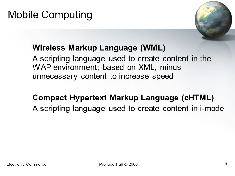 Mobile Computing Wireless Markup Language (WML)