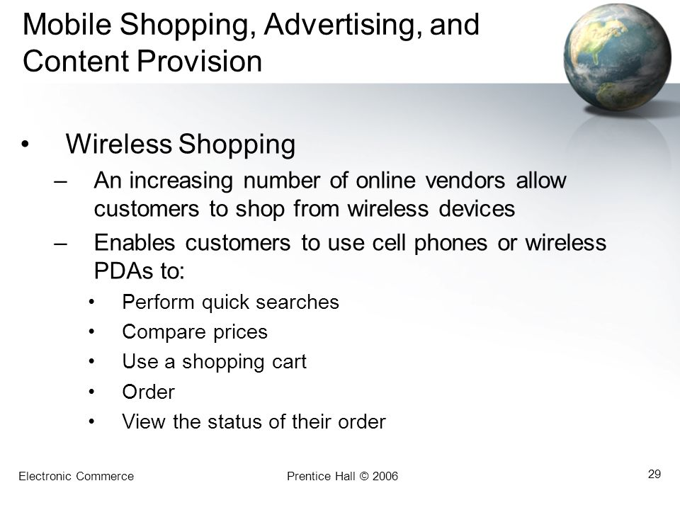 Mobile Shopping, Advertising, and Content Provision