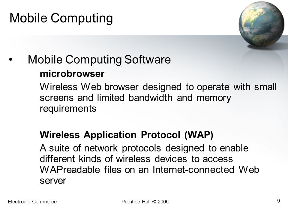 Mobile Computing Mobile Computing Software microbrowser