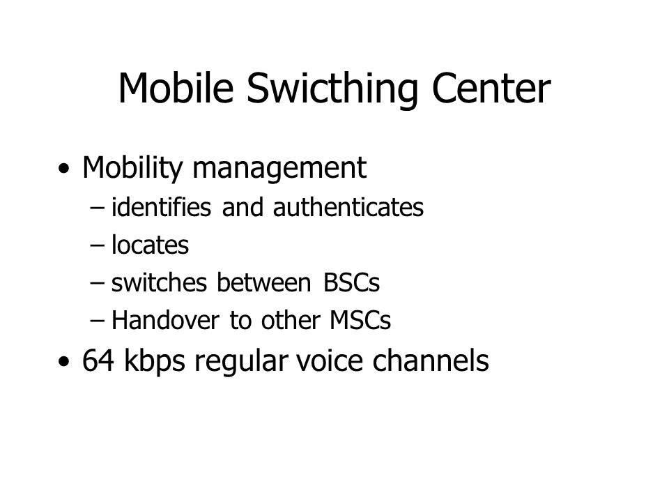 Mobile Swicthing Center