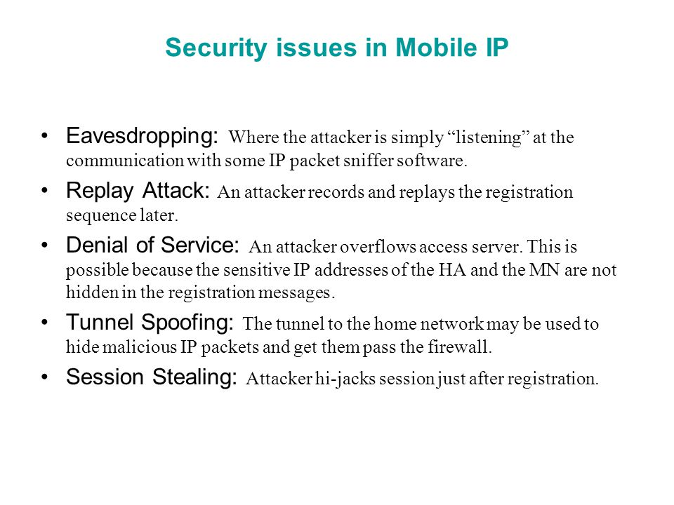 Security issues in Mobile IP