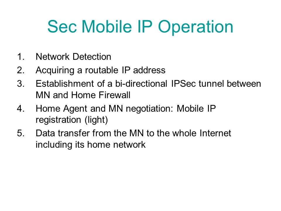 Sec Mobile IP Operation