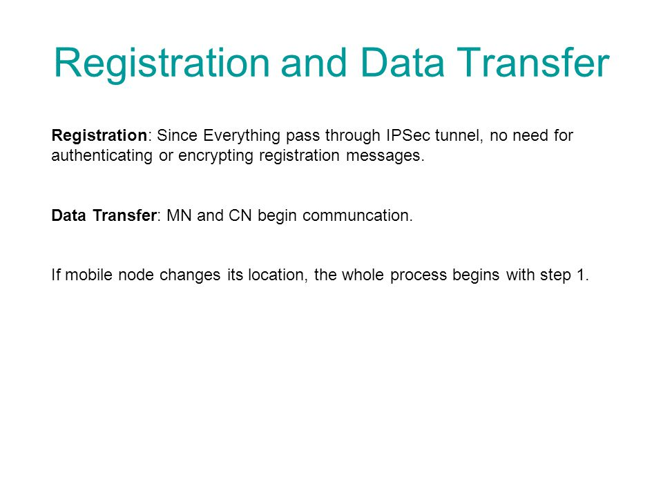 Registration and Data Transfer