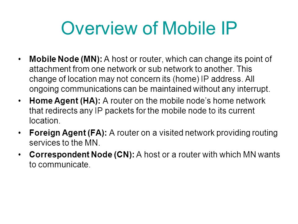Overview of Mobile IP