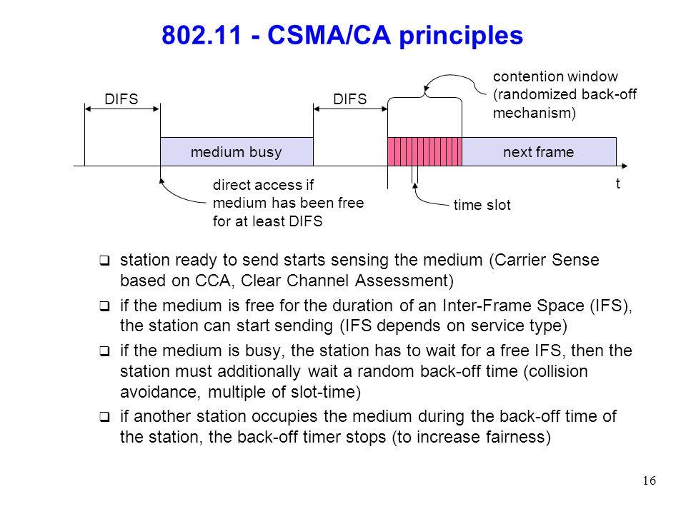 802.11 - CSMA/CA principles contention window. (randomized back-off mechanism) DIFS. DIFS. medium busy.
