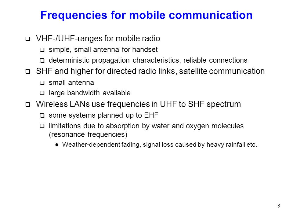 Frequencies for mobile communication
