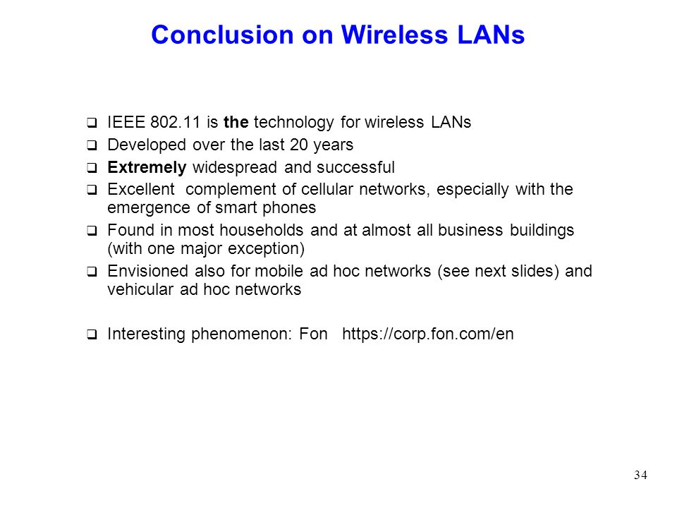 Conclusion on Wireless LANs