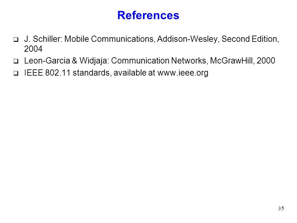 References J. Schiller: Mobile Communications, Addison-Wesley, Second Edition, 2004. Leon-Garcia & Widjaja: Communication Networks, McGrawHill, 2000.