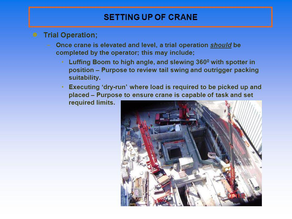 SETTING UP OF CRANE Trial Operation;