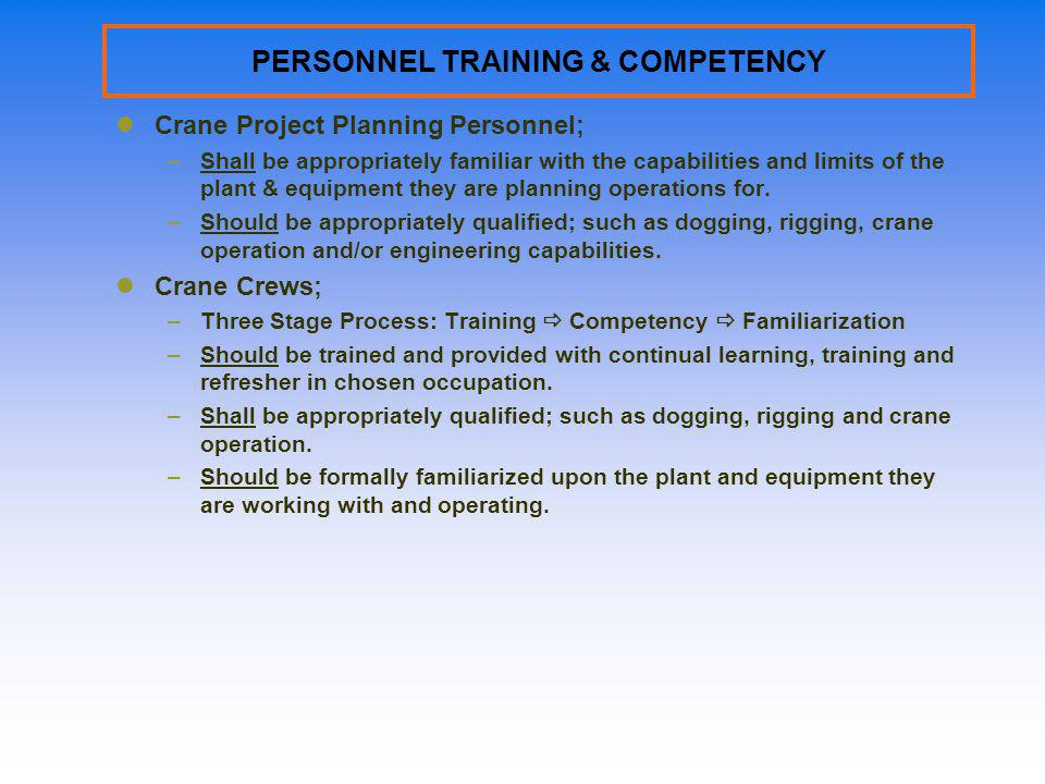 PERSONNEL TRAINING & COMPETENCY