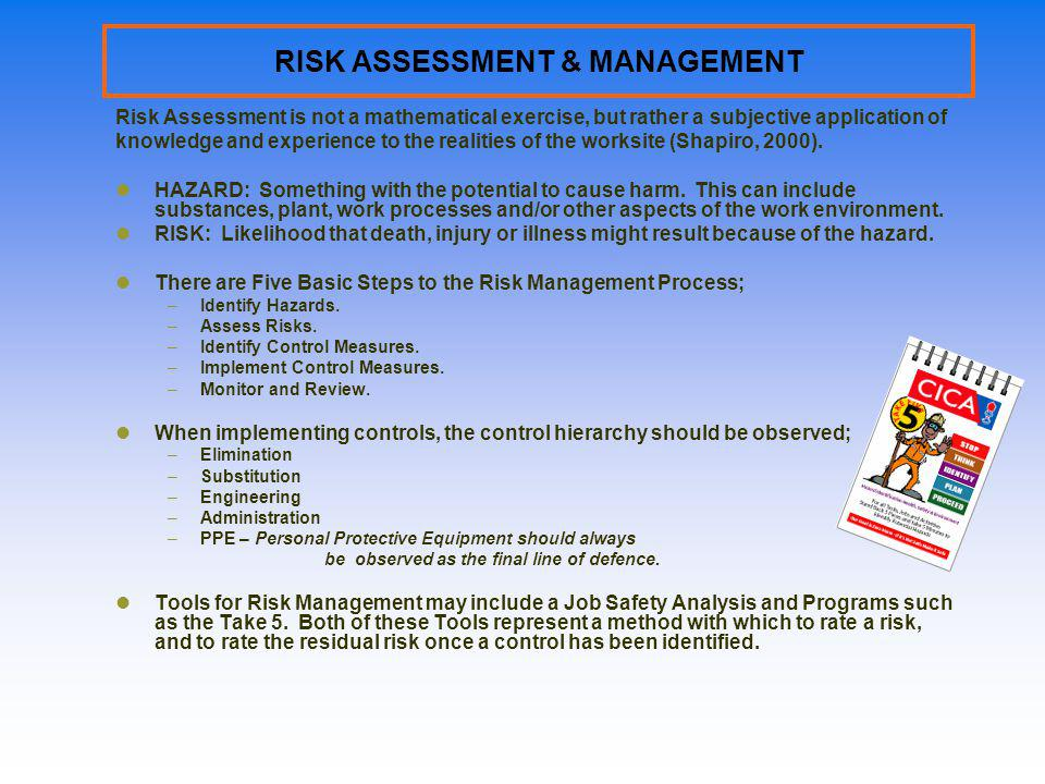 RISK ASSESSMENT & MANAGEMENT