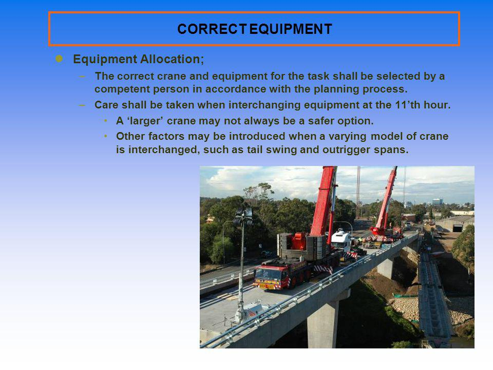 CORRECT EQUIPMENT Equipment Allocation;
